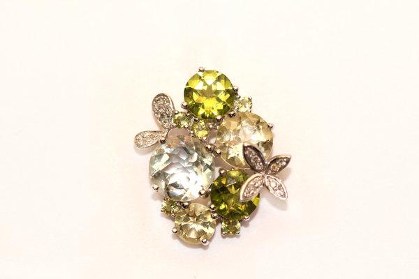 Золотой подвес схризолитом, кварцем ибриллиантом
