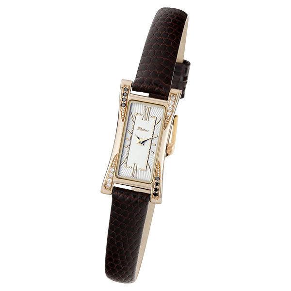 Золотые часы женские счерным бриллиантом ибриллиантом