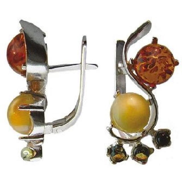 Серебряные серьги сянтарём