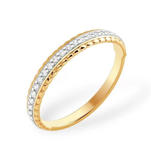 Золотое кольцо сфианитом