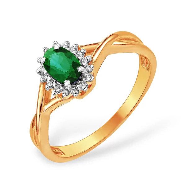 Золотое кольцо сизумрудом ибриллиантом