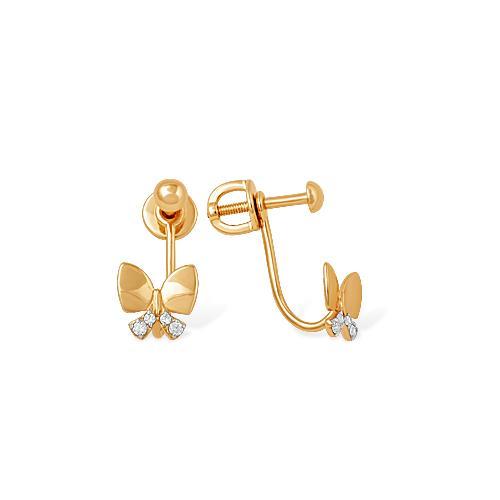 Золотые серьги сфианитом